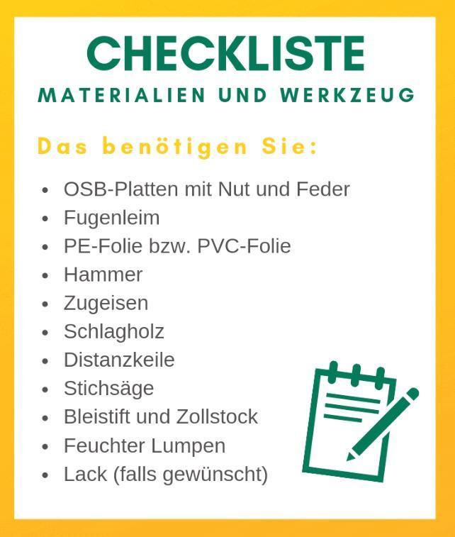 checkliste osb platten, werkzeug und material