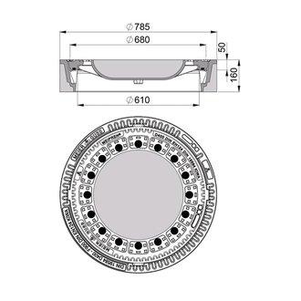 beton guss schachtabdeckung klasse d 400 rund mit ventilation. Black Bedroom Furniture Sets. Home Design Ideas