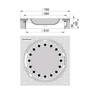 beton guss schachtabdeckung klasse d quadratisch mit ventilation. Black Bedroom Furniture Sets. Home Design Ideas