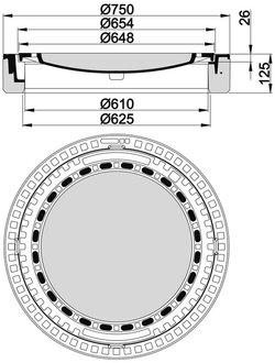 beton guss schachtabdeckung klasse b 125 rund mit ventilation. Black Bedroom Furniture Sets. Home Design Ideas
