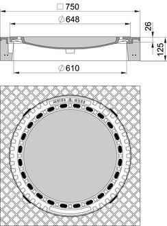 meierguss beton guss schachtabdeckung 102050 quadratisch klasse b 125 mit ventilation www. Black Bedroom Furniture Sets. Home Design Ideas