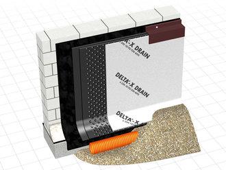 delta x drain noppenbahn mit vlies und gleitfolie 2000 mm. Black Bedroom Furniture Sets. Home Design Ideas