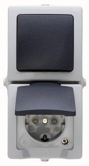 Kopp Aus-/Wechselschalter-Steckdosenkombination senkrecht NAUTIC grau