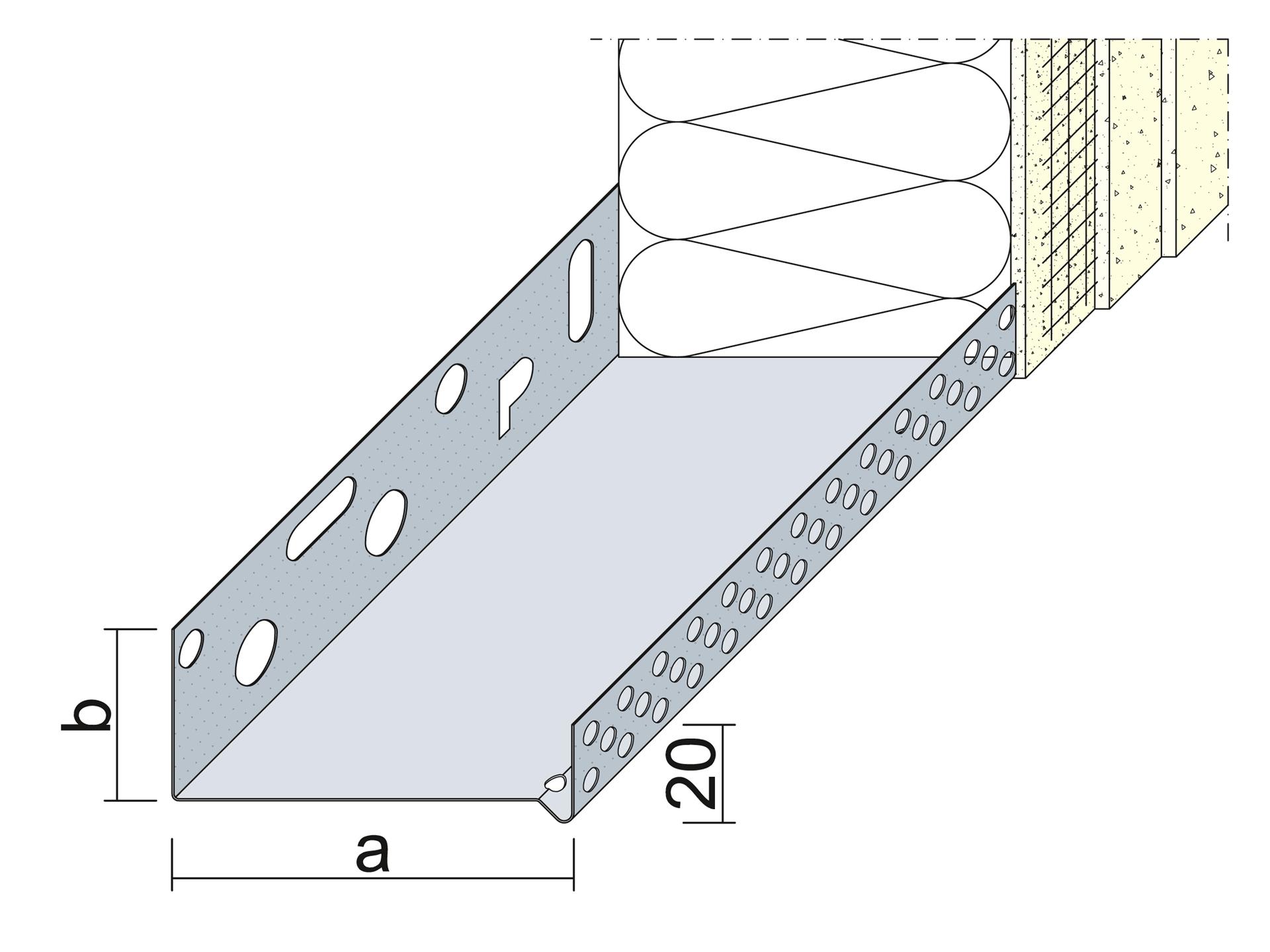 sockelprofil 60 mm wdvs, aluminium - 250 cm für 60 mm dämmstoffdicke